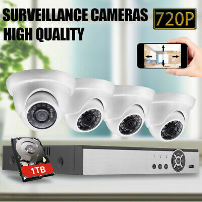 4CH 5IN1  AHD CCTV DVR+1TB Hard Drive Home Surveillance Security System Indoor