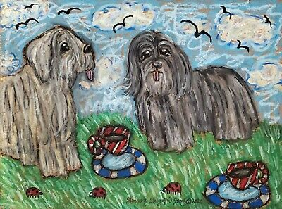 Bergamasco Drinking Coffee Dog Art Print 11x14 Signed Collectiblle Vintage Style