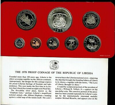 Liberia 8-Coin Proof Set 1978 Large Silver Elephant Coin Scarce