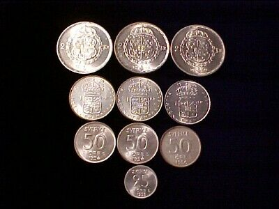 Sweden Lot Of (10) Ten Silver Coins 1944-1953 Ch Bu Nice