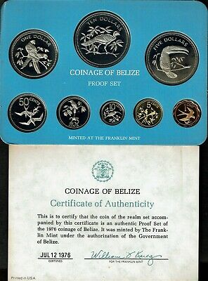 Belize 8-Coin Proof Set 1976 Nice In Case Tropical Birds Nice
