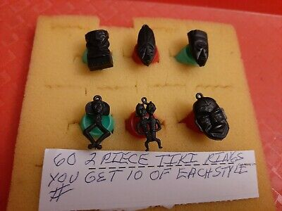 Vintage Gumball/Vending 2 Piece Tiki God Rings Made In Hong Kong Nos Lot Of 60