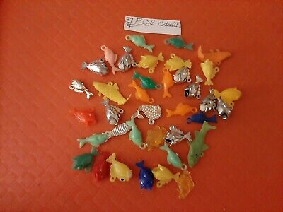 Vintage Gumball/Vending Fish Charms With Chains Lot Of 37