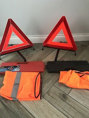 2 Warning Triangles And 2 High Vis Waist Coats