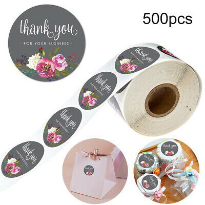500x Thank You Stickers For Your Purchase Business Labels Round Heart Wedding UK