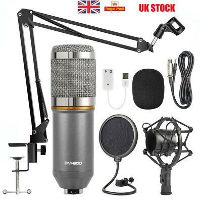 Condenser Microphone Mic Kit Live Studio Sound Recording Mount Shock Stand Set