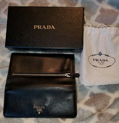 BRAND NEW authentic black prada saffiano leather clutch wallet never been used