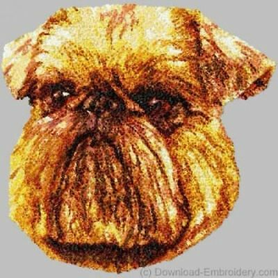 Embroidered Short-Sleeved T-shirt - Brussels Griffon DLE1496 Sizes S - XXL