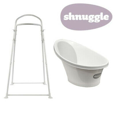 Shnuggle Baby Bath with Bum Support & Bath Stand - White/Grey - NEW STYLE