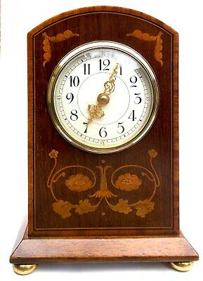 Antique Edwardian Mahogany Inlaid Bracket / Mantel Clock Timepiece