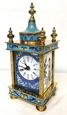 Vintage 20th Century Chinese Cloisonne French Style Enamel Mantel Bracket Clock