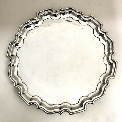 Large Hallmarked Sterling Silver Salver Tray SHEFFIELD Walker & Hall 1932