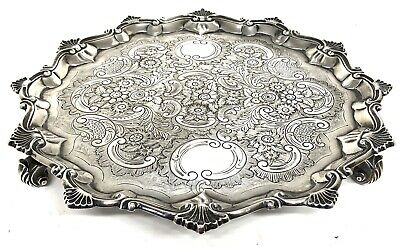 Stunning Antique Solid Silver George III Salver With Floral Engraving And Shell