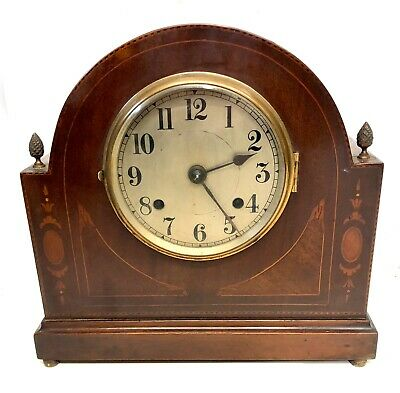 Antique BRITISH Inlaid Mahogany Mantel / Bracket Clock