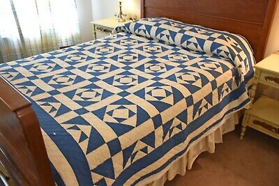 Antique Wild Goose Chase Quilt from Nebraska with Known Maker