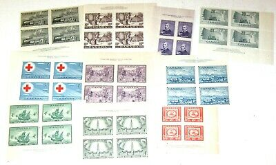 CANADA 1950's 10 PLATE BLOCKS OF 4 MNH