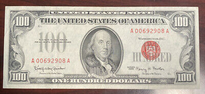 $100 Red Deal Small Size Us Currency 1966