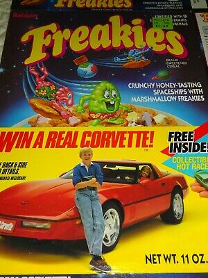 VINTAGE Ralston CEREAL BOX FREAKIES Win a Real Corvette 1987