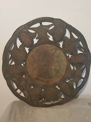 Rare Antique Ancient Egyptian Plate Queen Nefertari Wear Crown Snack 1255 BC