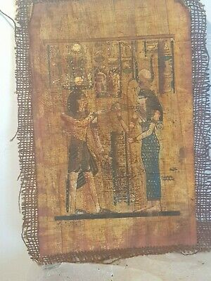 Rare Antique Ancient Egyptian Papyrus King Thutmos & God Hathor Happiness 1493BC