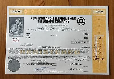 New England Telephone And Telegraph Company Stock - Scarce Nm
