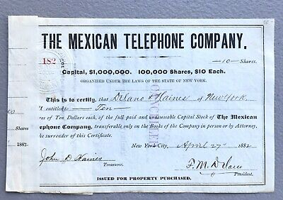 The Mexican Telephone Co 1882 10 Shares Stock Certificate