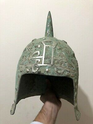 SCARCE-ANCIENT BRONZE MILITARY DECORATED HELMET WITH SILVER INLAY-2834 gr