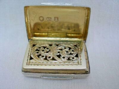 Fine Early Victorian Sterling Silver Rectangular Vinaigrette By Edward Smith.