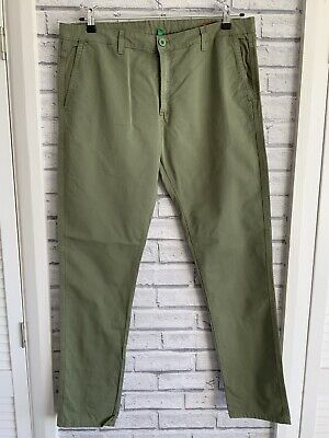 United Colours Of Benetton Men's Slim Fit Olive Green Trousers 38/32