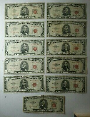 Lot of 11 $5 Red Seal United States Notes