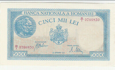 5000 Lei Extra Fine Crispy Banknote From Romania 1944 September 20  Pick-55