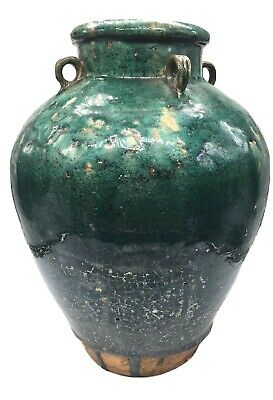 Antique 19th C. Vietnamese Martaban Jar Pottery Ceramic Green Drip Glaze