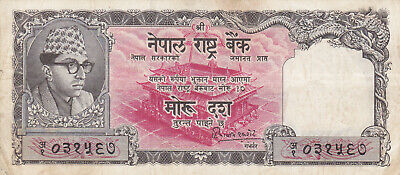 10 Rupees Fine-Vf Banknote From Nepal 1960 Pick-10