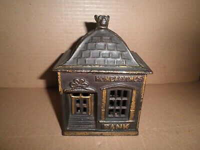 Great old original cast iron Home Savings Bank with Dog Finial still bank c.1891