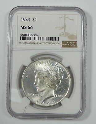 1924 Peace Dollar CERTIFIED NGC MS 66 Silver Dollar