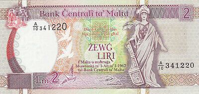 2 LIRI VERY AUNC BANKNOTE FROM MALTA ND(1967)  PICK-45a