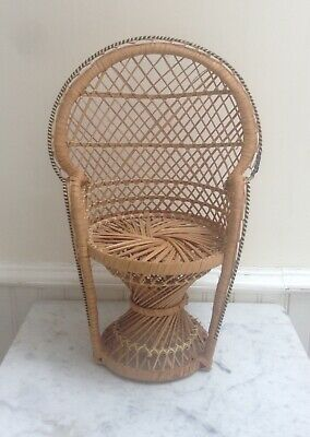 Vintage Wicker Small Peacock Chair