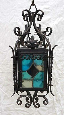"French Lantern Wrought Iron Leaded Stained Colored Glass Large 28""++"
