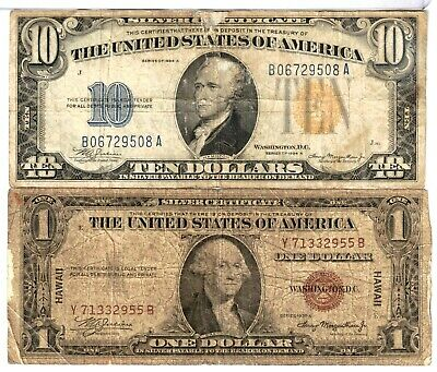 Filler $10 1934 North Africa Yellow Seal & $1 1935A Hawaii Note