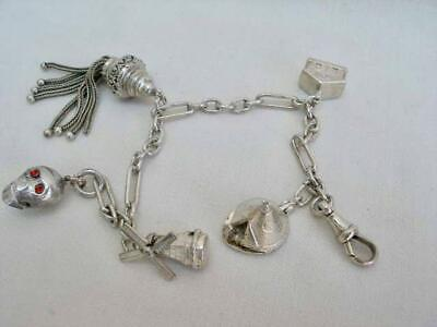 Fine Vintage Sterling Silver Albertina Watch Chain With Tassel Fob & Charms.