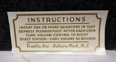 1940's COIN-OP TRADIO ASBURY PARK NJ HOTEL RADIO INSTRUCTIONS WATER SLIDE DECAL