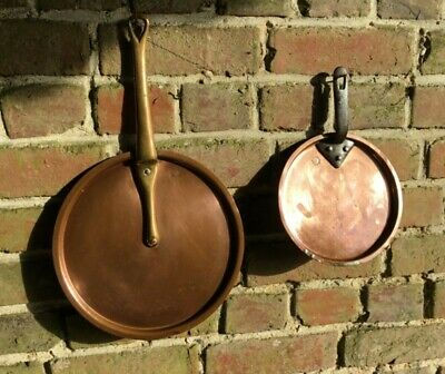 ANTIQUE VINTAGE  COPPER PAN LID x 2  - ONE JONES BROS ONE FRENCH