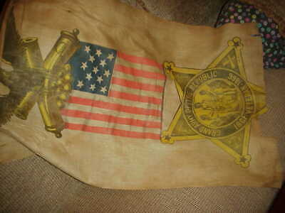154 YEAR OLD Flag USA American Cloth US VETERANS 100 YEAR ANN 1861 TO 1866 REAL