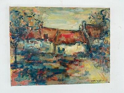 tableau huile Marcel HAMSELL 1909-1985 paysage signé expressionniste circa 1960