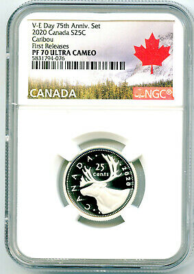 2020 Canada 25 Cent .9999 Silver Proof Quarter Ngc Pf70 Ucam First Releases