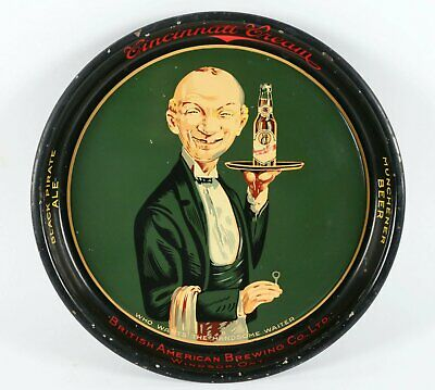 1930s TIN LITHOGRAPH UGLY WAITER ADVERTISING SERVING BEER TRAY TIN LITHO TRAY