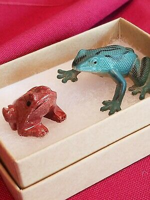 Vintage 2 Frogs -1 Stone and 1 Plastic