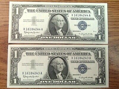 Two 1957-B Serial Sequenced One Dollar Silver Certificates Crisp Uncirculated