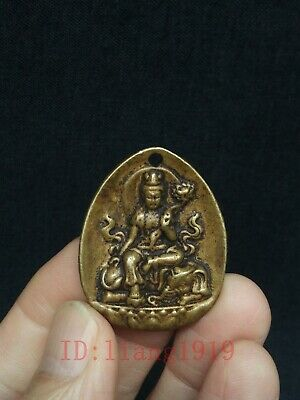 Collection Ancient Chinese Copper Carving Avalokitesvara Statue Amulet Pendant