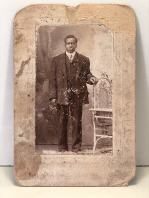 Early 1900s Picture Cabinet Card African American Man in Suit